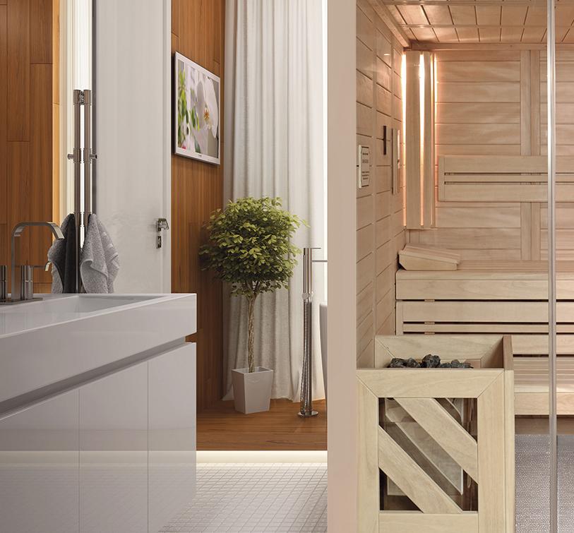 Moderne Massivholzsauna mit Glaselementen. Bauweise mit Vollholzbohlen für tolles Klima.